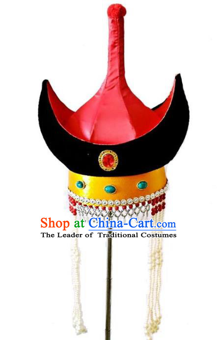Chinese Handmade Mongol Nationality Wedding Hats Mongolian Red Hats for Women