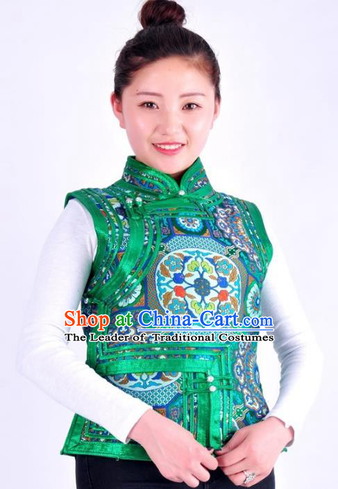 Chinese Mongol Nationality Costume Green Vest Traditional Mongolian Minority Clothing for Women
