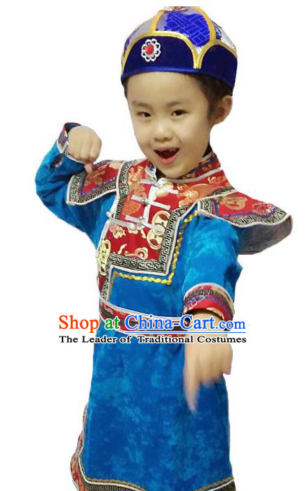 Chinese Mongol Nationality Costume Traditional Mongolian Minority Folk Dance Blue Mongolian Robe for Kids