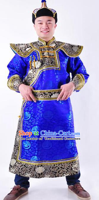 Chinese Mongol Nationality Costume Traditional Mongolian Royal Highness Royalblue Mongolian Robe for Men