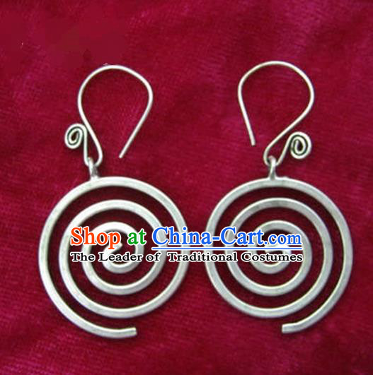 Chinese Handmade Miao Nationality Accessories Hmong Sliver Earrings for Women
