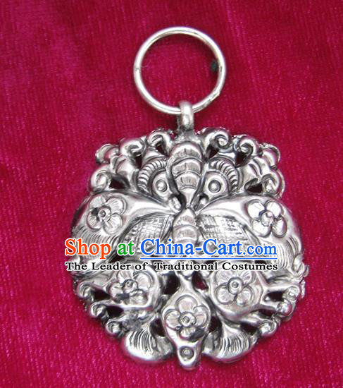 Chinese Miao Nationality Silver Ornaments Traditional Hmong Necklace Pendant Accessories for Women