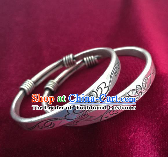 Chinese Miao Nationality Silver Ornaments Traditional Hmong Carving Bracelets Accessories for Women