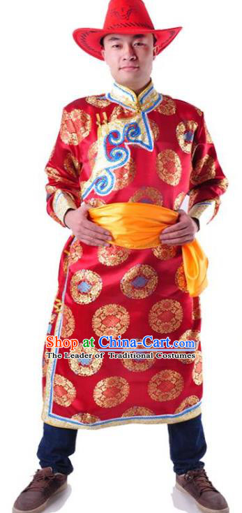 Chinese Mongol Nationality Costume Traditional Mongolian Royal Highness Red Mongolian Robe for Men