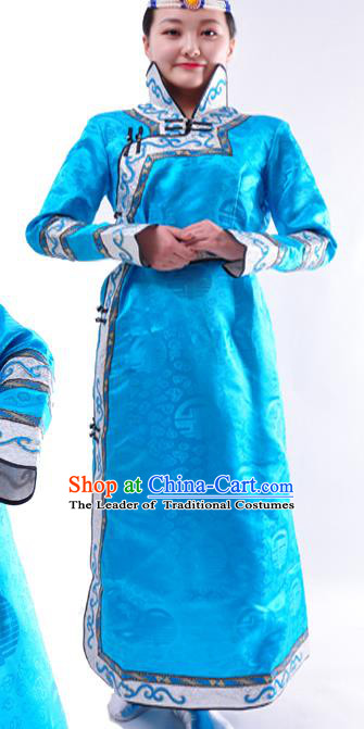 Chinese Mongol Nationality Folk Dance Costume Traditional Blue Mongolian Robe for Women