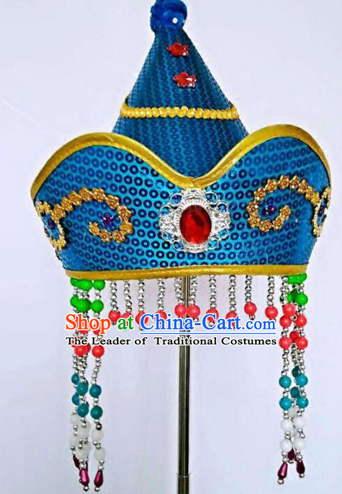 Chinese Handmade Mongol Nationality Hats Mongolian Blue Hats for Kids