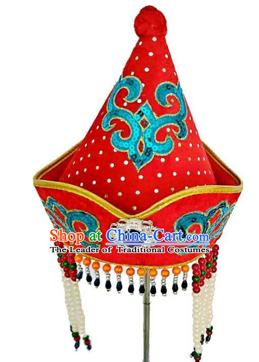 Chinese Handmade Mongol Nationality Hats Mongolian Red Tassel Hats for Kids