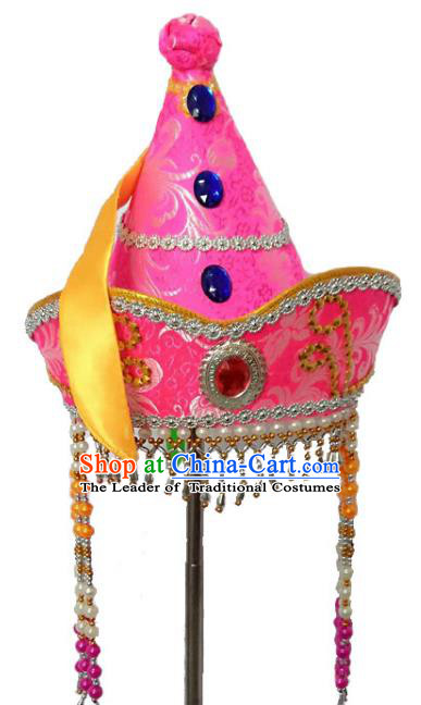 Chinese Handmade Mongol Nationality Hats Mongolian Princess Pink Hats for Kids