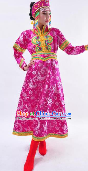 Chinese Mongol Nationality Folk Dance Costume Traditional Minority Rosy Mongolian Robe for Women