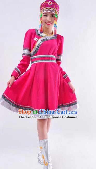 Chinese Mongol Nationality Folk Dance Costume Traditional Minority Rosy Mongolian Dress for Women
