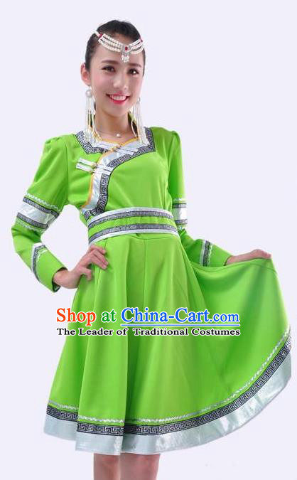 Chinese Mongol Nationality Folk Dance Costume Traditional Minority Green Mongolian Dress for Women