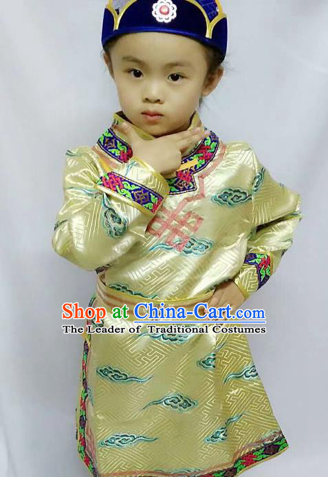 Chinese Mongol Nationality Costume Boy Golden Mongolian Robe Traditional Mongolian Minority Clothing for Kids