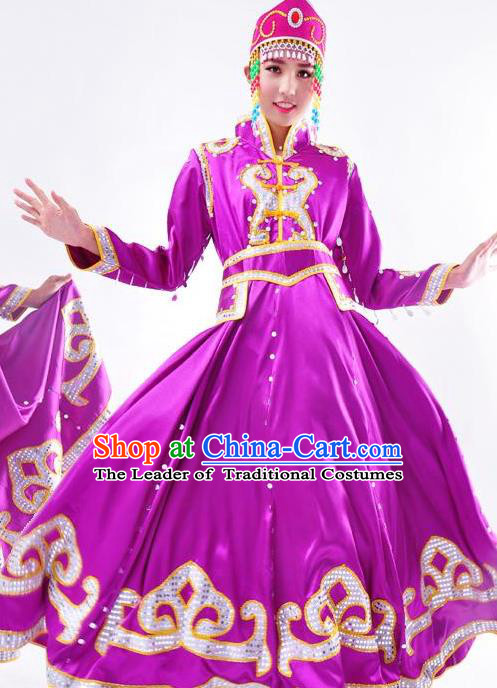 Chinese Mongol Nationality Folk Dance Costume Traditional Mongolian Minority Purple Big Swing Dress for Women