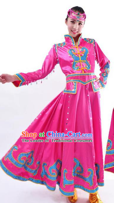Chinese Mongol Nationality Folk Dance Costume Traditional Mongolian Minority Rosy Big Swing Dress for Women
