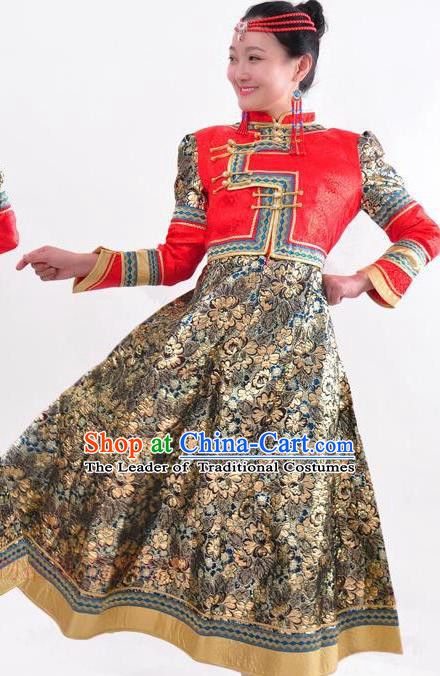 Chinese Mongol Nationality Folk Dance Wedding Costume Traditional Mongolian Minority Dress for Women