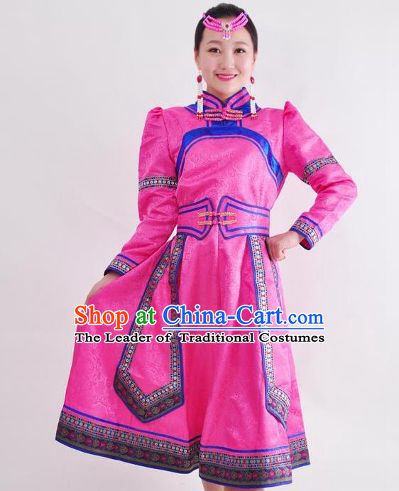 Chinese Mongol Nationality Folk Dance Rosy Dress Costume Traditional Mongolian Minority Clothing for Women