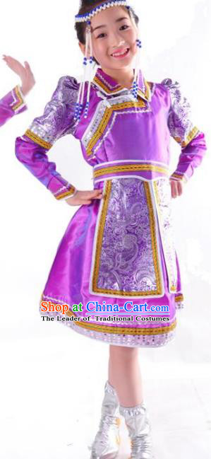 Chinese Mongol Nationality Folk Dance Costume Traditional Mongolian Minority Purple Mongolian Robe for Kids