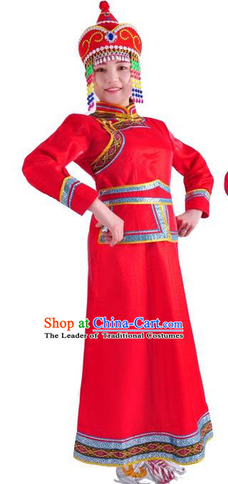 Chinese Mongol Nationality Costume Traditional Folk Dance Mongolian Red Mongolian Robe for Women
