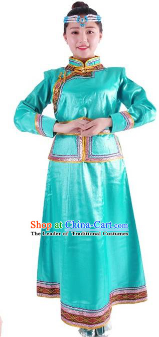 Chinese Mongol Nationality Costume Traditional Folk Dance Green Mongolian Robe for Women