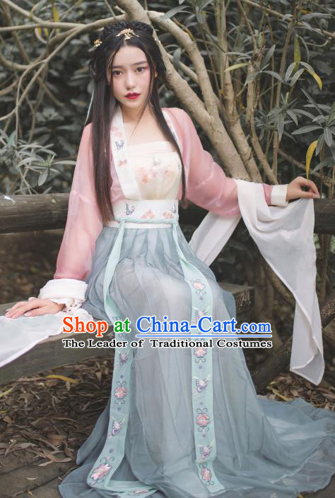 Ancient Chinese Song Dynasty Nobility Lady Embroidered Hanfu Dress for Women