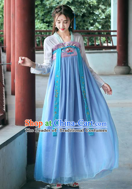 Ancient Chinese Las Meninas Costume Tang Dynasty Court Maid Embroidered Hanfu Dress for Women