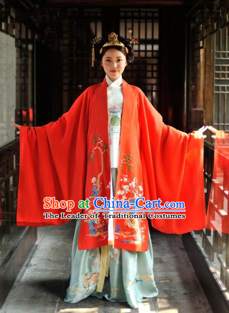 Chinese Ancient Imperial Empress Wedding Costumes Traditional Ming Dynasty Bride Embroidered Hanfu Dress for Women