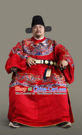Chinese Ancient Ming Dynasty Emperor Wedding Costumes and Headpiece Complete Set