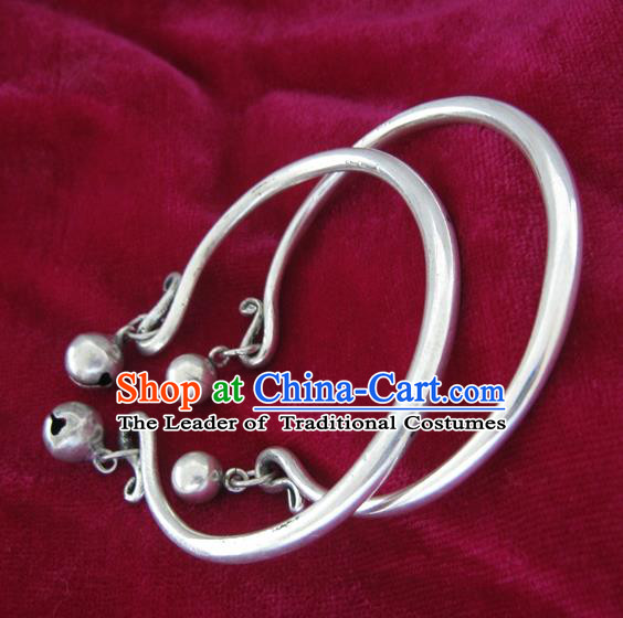 Chinese Miao Nationality Silver Ornaments Traditional Hmong Handmade Bracelets for Women
