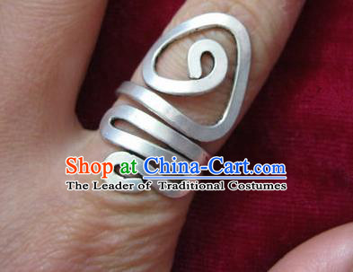 Chinese Miao Nationality Silver Ornaments Traditional Hmong Handmade Ring for Women