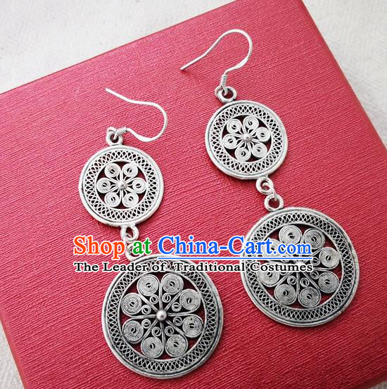 Chinese Handmade Miao Nationality Jewelry Accessories Hmong Sliver Hub Earrings for Women