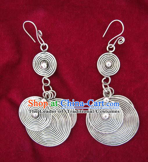 Chinese Handmade Miao Nationality Jewelry Accessories Sliver Earbob Hmong Earrings for Women
