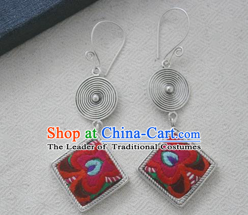 Chinese Handmade Miao Nationality Embroidered Jewelry Accessories Sliver Earbob Hmong Earrings for Women