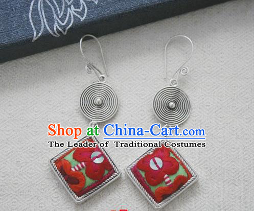 Chinese Handmade Miao Nationality Jewelry Accessories Sliver Embroidered Earbob Hmong Earrings for Women