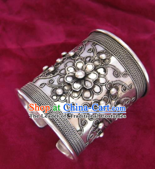 Chinese Miao Nationality Sliver Ornaments Traditional Hmong Handmade Wide Bracelet for Women