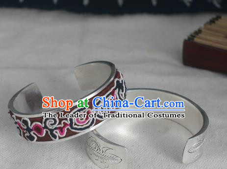Chinese Miao Nationality Ornaments Sliver Bracelet Traditional Hmong Embroidered Bangle for Women
