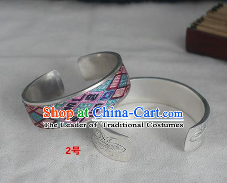 Chinese Miao Nationality Ornaments Sliver Bracelet Traditional Hmong Embroidered Blue Bangle for Women