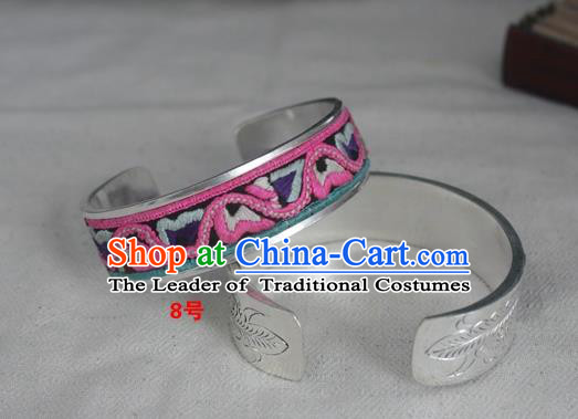 Chinese Miao Nationality Ornaments Embroidered Bracelet Traditional Hmong Sliver Bangle for Women