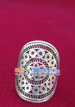 Chinese Miao Nationality Ornaments Sliver Ring Traditional Hmong Finger Ring Jewelry for Women