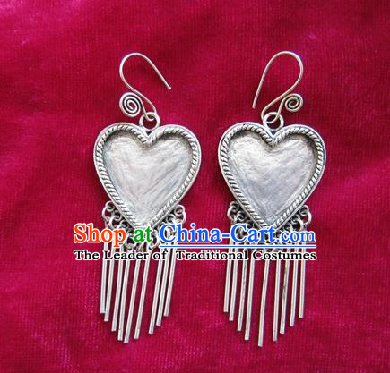 Chinese Handmade Miao Sliver Heart-shaped Eardrop Hmong Nationality Tassel Earrings for Women