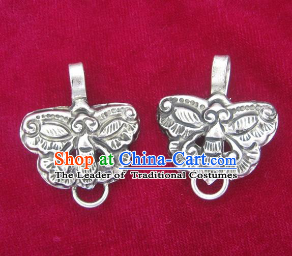 Chinese Miao Nationality Ornaments Sliver Butterfly Pendant Traditional Hmong Accessories for Women