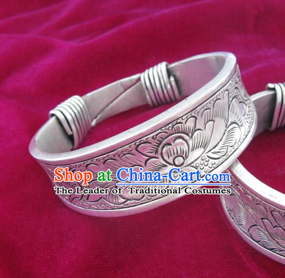 Chinese Miao Sliver Ornaments Carving Peony Bracelet Traditional Hmong Bangle Accessories for Women