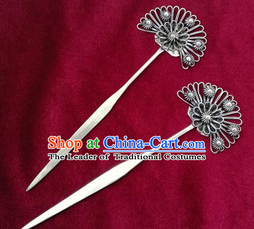 Traditional Chinese Miao Nationality Sliver Flowers Hair Clip Hanfu Hairpins Hair Accessories for Women