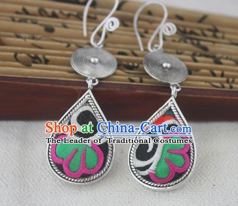 Chinese Handmade Miao Sliver Eardrop Hmong Nationality Embroidered Earrings for Women