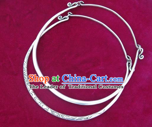 Chinese Miao Sliver Ornaments Carving Necklace Traditional Hmong Handmade Necklet for Women
