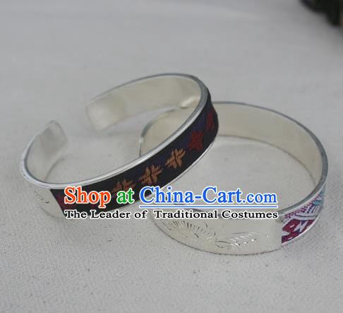 Chinese Miao Sliver Ornaments Embroidered Black Bracelet Traditional Hmong Handmade Sliver Bangle for Women