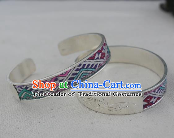 Chinese Miao Sliver Ornaments Bracelet Traditional Hmong Handmade Embroidered Sliver Bangle for Women