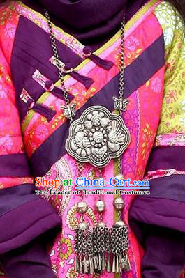 Chinese Miao Sliver Ornaments Necklace Longevity Lock Traditional Hmong Carving Necklet Pendant for Women
