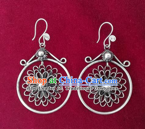 Chinese Handmade Miao Sliver Flower Earrings Hmong Nationality Eardrop for Women