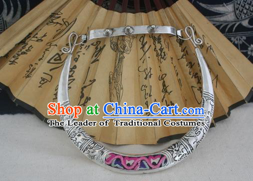 Chinese Miao Sliver Ornaments Chinese Zodiac Necklace Traditional Hmong Embroidered Necklet for Women