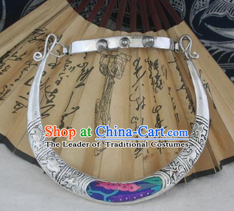 Chinese Miao Sliver Ornaments Carving Chinese Zodiac Necklace Traditional Hmong Blue Embroidered Necklet for Women